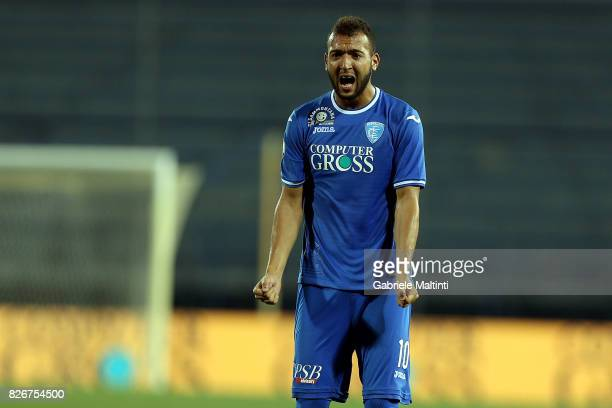 Omar El Kaddouri of Empoli FC reacts during the TIM Cup match between Empoli FC and Renate at Stadio Carlo Castellani on August 5 2017 in Empoli Italy