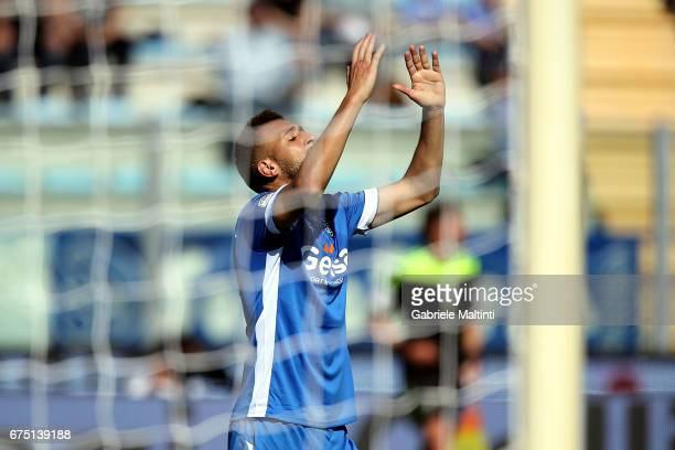 Omar El Kaddouri of Empoli FC shows his dejection during the Serie A match between Empoli FC and US Sassuolo at Stadio Carlo Castellani on April 30...