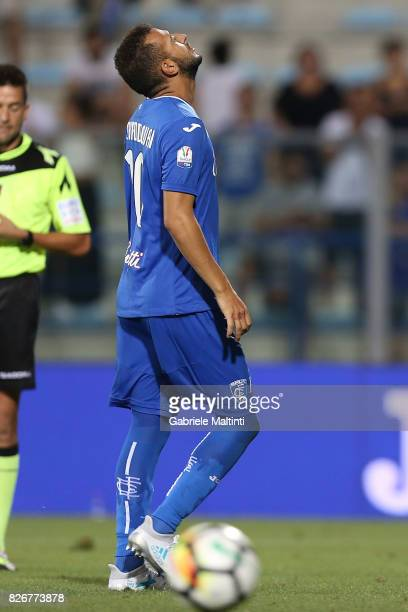 Omar El Kaddouri of Empoli FC shows his dejection during the TIM Cup match between Empoli FC and Renate at Stadio Carlo Castellani on August 5 2017...