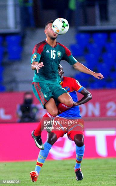 Omar El Kaddouri of Morocco rises for the ball during the African Cup of Nations 2017 Group C match between DR Congo and Morocco in Oyem Gabon on...