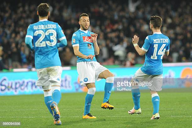 Omar El Kaddouri of SSC Napoli celebrates after scoring during the italian Serie A football match between SSC Napoli and Genoa CFC at San Paolo...