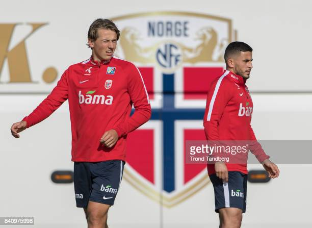 Omar Elabdellaoui Sander Berge of Norway during the FIFA 2018 World Cup Qualifier training between Norway and Aserbajdsjan at Bislett Stadion on...