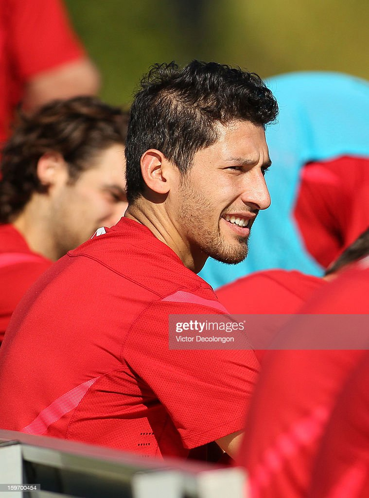 Omar Gonzalez looks on from the bench after the U.S. Men's Soccer Team training session at the Home Depot Center on January 17, 2013 in Carson, California.