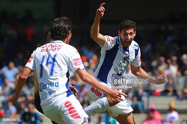 Omar Gonzalez of Pachuca celebrates after scoring the first goal of his team during the fifth round match between Pumas and Pachuca as part of the...