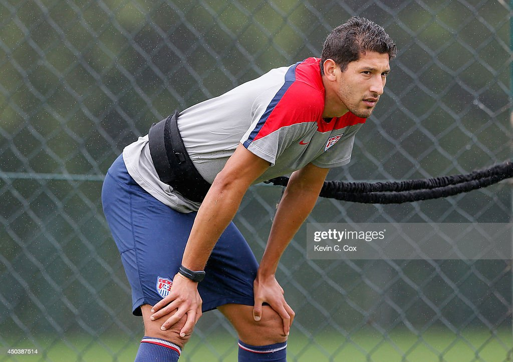 <a gi-track='captionPersonalityLinkClicked' href=/galleries/search?phrase=Omar+Gonzalez&family=editorial&specificpeople=2488485 ng-click='$event.stopPropagation()'>Omar Gonzalez</a> of the United States works out during their training session at Sao Paulo FC on June 10, 2014 in Sao Paulo, Brazil.