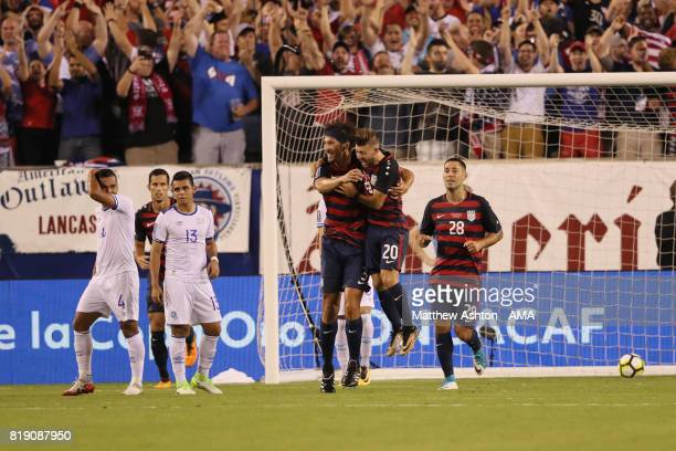 Omar Gonzalez of United States of America celebrates after scoring a goal to make it 10during the 2017 CONCACAF Gold Cup Quarter Final match between...