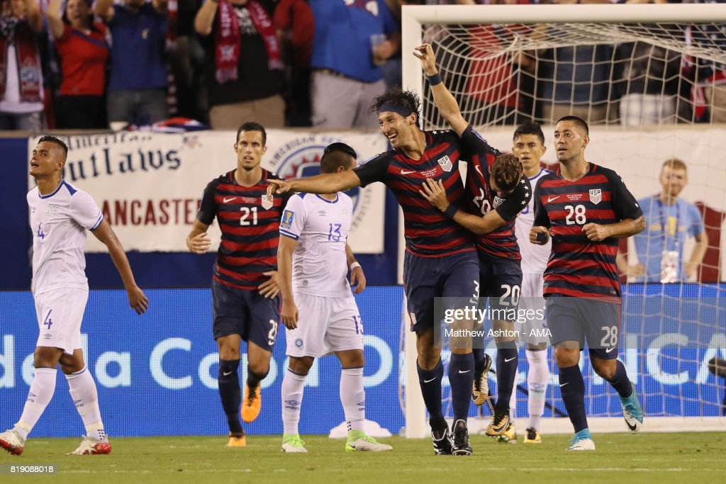 Omar Gonzalez of United States of America celebrates after scoring a goal to make it 1-0during the 2017 CONCACAF Gold Cup Quarter Final match between United States of America and El Salvador at Lincoln Financial Field on July 19, 2017 in Philadelphia, Pennsylvania.