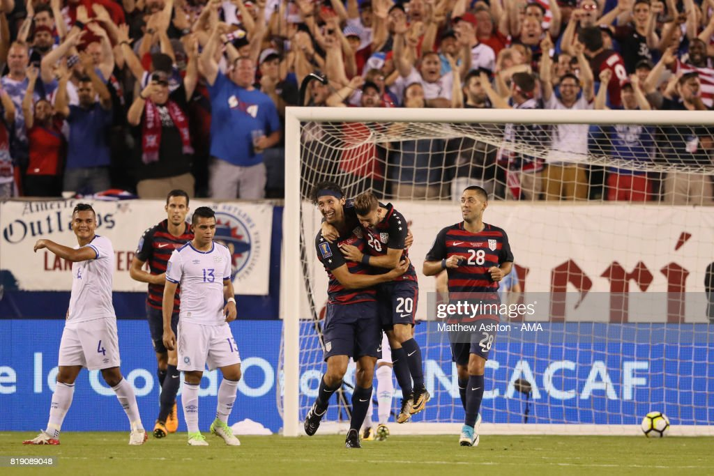 Omar Gonzalez of United States of America celebrates after scoring a goal to make it 1-0 during the 2017 CONCACAF Gold Cup Quarter Final match between United States of America and El Salvador at Lincoln Financial Field on July 19, 2017 in Philadelphia, Pennsylvania.
