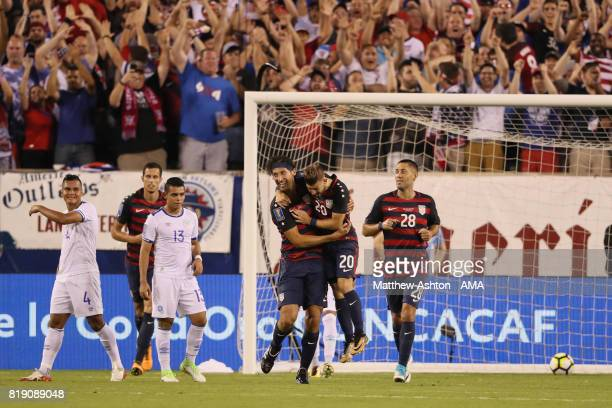 Omar Gonzalez of United States of America celebrates after scoring a goal to make it 10 during the 2017 CONCACAF Gold Cup Quarter Final match between...