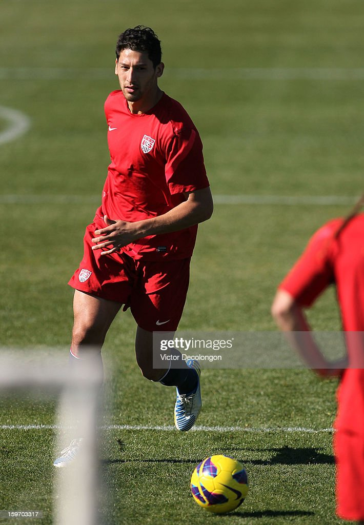 <a gi-track='captionPersonalityLinkClicked' href=/galleries/search?phrase=Omar+Gonzalez&family=editorial&specificpeople=2488485 ng-click='$event.stopPropagation()'>Omar Gonzalez</a> plays the ball during the U.S. Men's Soccer Team training session at the Home Depot Center on January 17, 2013 in Carson, California.