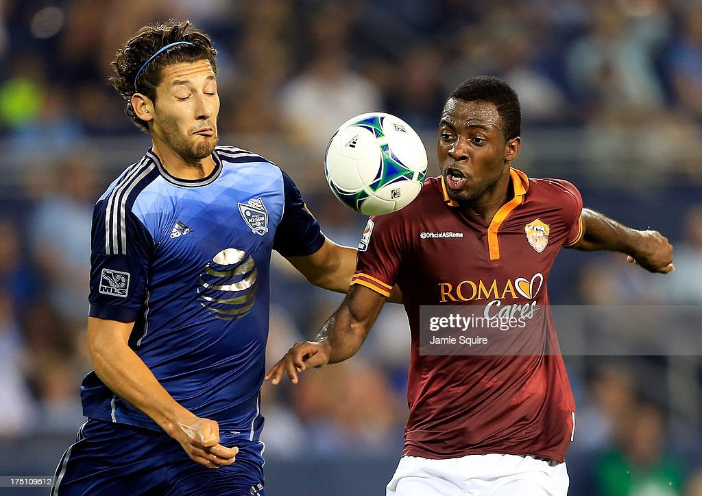 Omar González #4 of the MLS All-Stas battles Junior Tallo #20 of AS Roma for the ball during the 2013 Major League Soccer All Star Game at Sporting Park on July 31, 2013 in Kansas City, Kansas.