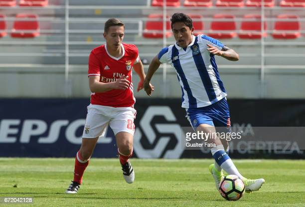 Omar Govea of FC Porto B with Filipe Ferreira of SL Benfica B in action during the Segunda Liga match between SL Benfica B and FC Porto B at Caixa...