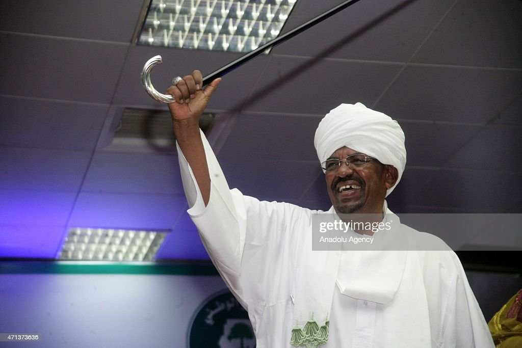 Omar Hassan al-Bashir greets his supporters after he won the presidential election, in Khartoum, Sudan on April 27, 2015. With a result widely predicted in a number of reports, incumbent President of Sudan, al-Bashir, won Sudan's Presidential elections, claiming 94.5 per cent of the ballots cast, though turnout for the election accounted for half of those registered to vote, and as the opposition boycotted the election amid claims of repression of political dissent.