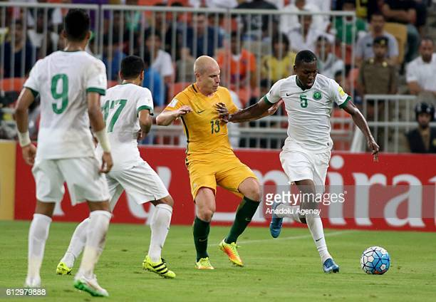 Omar Hawsawi of Saudi Arabia in action during the 2018 FIFA World Cup Qualifiers match between Saudi Arabia and Australia at the King Abdullah Sports...