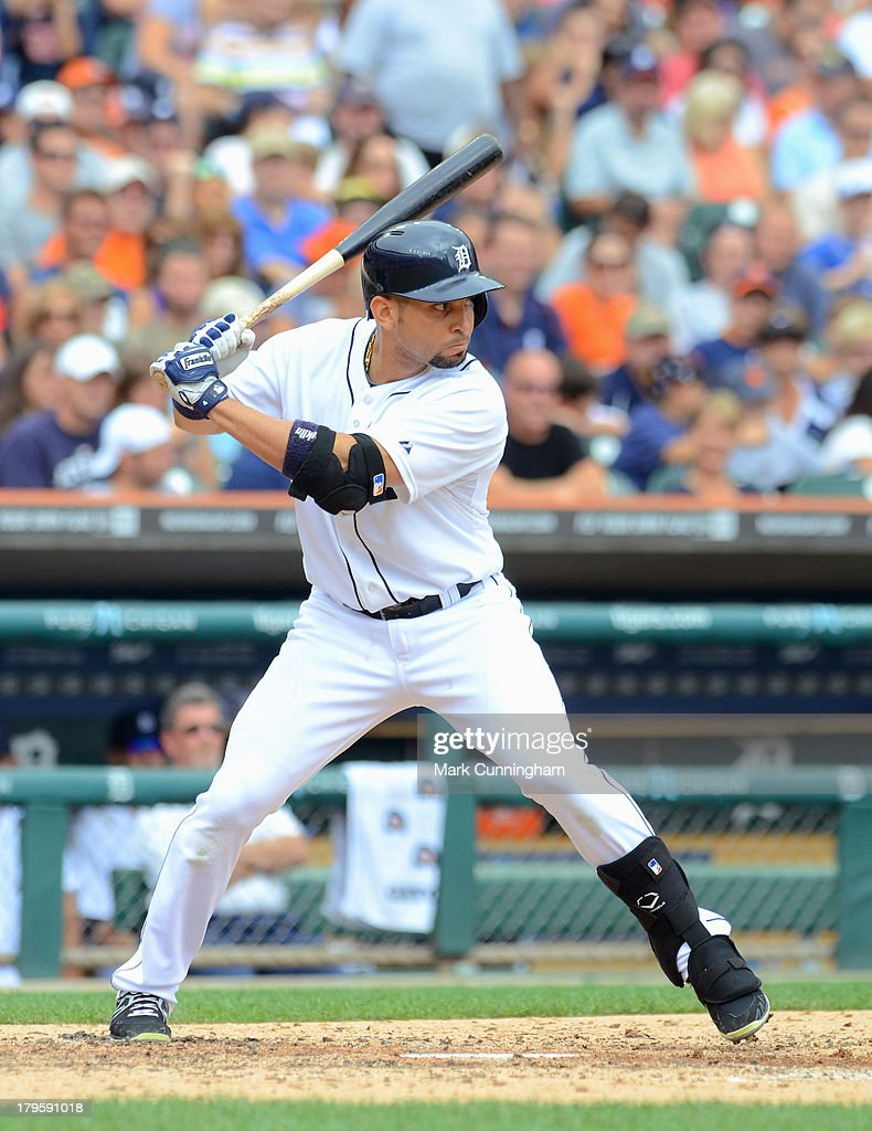 <a gi-track='captionPersonalityLinkClicked' href=/galleries/search?phrase=Omar+Infante&family=editorial&specificpeople=203255 ng-click='$event.stopPropagation()'>Omar Infante</a> #4 of the Detroit Tigers bats during the game against the Cleveland Indians at Comerica Park on September 1, 2013 in Detroit, Michigan. The Indians defeated the Tigers 4-0.