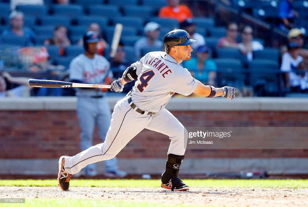 <a gi-track='captionPersonalityLinkClicked' href=/galleries/search?phrase=Omar+Infante&family=editorial&specificpeople=203255 ng-click='$event.stopPropagation()'>Omar Infante</a> #4 of the Detroit Tigers follows through on a ninth inning RBI base hit against the New York Mets at Citi Field on August 25, 2013 in the Flushing neighborhood of the Queens borough of New York City.