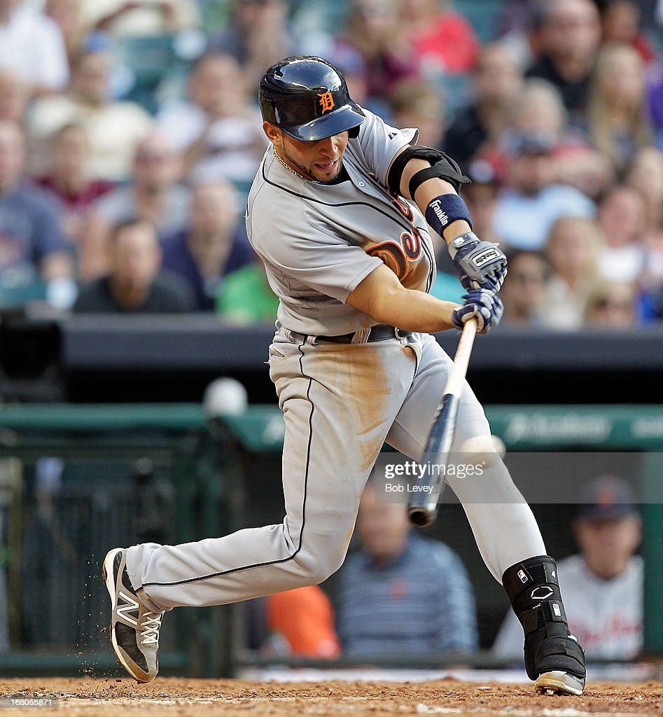 <a gi-track='captionPersonalityLinkClicked' href=/galleries/search?phrase=Omar+Infante&family=editorial&specificpeople=203255 ng-click='$event.stopPropagation()'>Omar Infante</a> #4 of the Detroit Tigers hits a line drive to center field in the second inning against the Houston Astros at Minute Maid Park on May 4, 2013 in Houston, Texas.