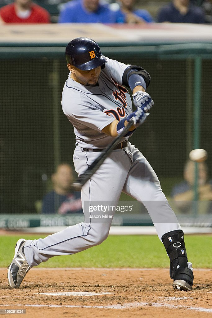 <a gi-track='captionPersonalityLinkClicked' href=/galleries/search?phrase=Omar+Infante&family=editorial&specificpeople=203255 ng-click='$event.stopPropagation()'>Omar Infante</a> #4 of the Detroit Tigers hits an RBI single during the fourth inning against the Cleveland Indians at Progressive Field on May 22, 2013 in Cleveland, Ohio.