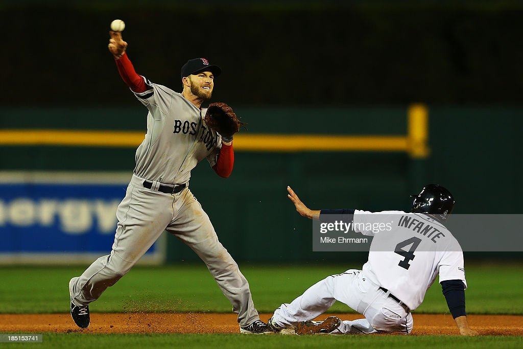 <a gi-track='captionPersonalityLinkClicked' href=/galleries/search?phrase=Omar+Infante&family=editorial&specificpeople=203255 ng-click='$event.stopPropagation()'>Omar Infante</a> #4 of the Detroit Tigers is out at second as <a gi-track='captionPersonalityLinkClicked' href=/galleries/search?phrase=Stephen+Drew&family=editorial&specificpeople=757520 ng-click='$event.stopPropagation()'>Stephen Drew</a> #7 of the Boston Red Sox turns a double play on a ball hit by Brayan Pena #55 in the fifth inning of Game Five of the American League Championship Series at Comerica Park on October 17, 2013 in Detroit, Michigan.