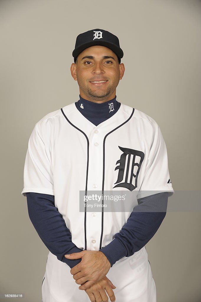 <a gi-track='captionPersonalityLinkClicked' href=/galleries/search?phrase=Omar+Infante&family=editorial&specificpeople=203255 ng-click='$event.stopPropagation()'>Omar Infante</a> #4 of the Detroit Tigers poses during Photo Day on February 19, 2013 at Joker Marchant Stadium in Lakeland, Florida.