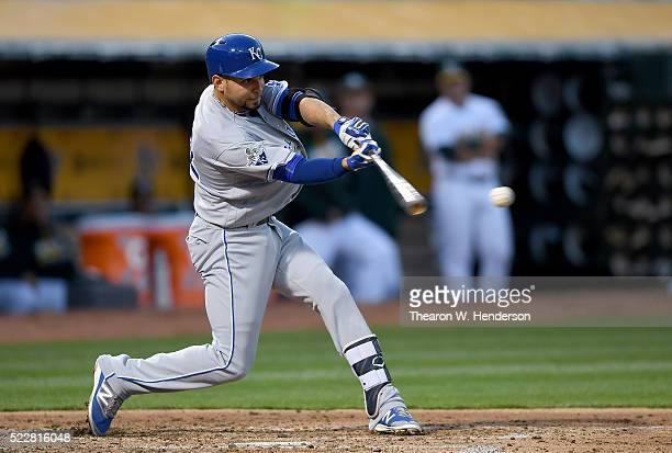Omar Infante of the Kansas City Royals bats against the Oakland Athletics in the top of the second inning at Oco Coliseum on April 15 2016 in Oakland...
