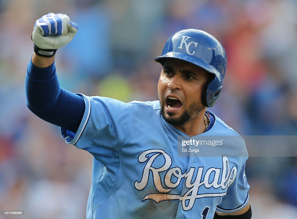 Omar Infante of the Kansas City Royals celebrates his gamewinning RBI single against the Los Angeles Angels of Anaheim at Kauffman Stadium on June 29...