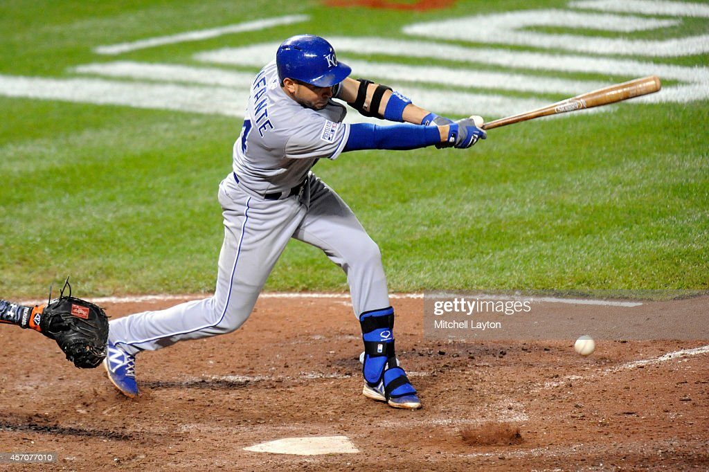 <a gi-track='captionPersonalityLinkClicked' href=/galleries/search?phrase=Omar+Infante&family=editorial&specificpeople=203255 ng-click='$event.stopPropagation()'>Omar Infante</a> #14 of the Kansas City Royals hits a single in the ninth inning against Darren O'Day #56 of the Baltimore Orioles during Game Two of the American League Championship Series at Oriole Park at Camden Yards on October 11, 2014 in Baltimore, Maryland.