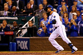Omar Infante of the Kansas City Royals hits a tworun home run in the sixth inning against San Francisco Giants during Game Two of the 2014 World...