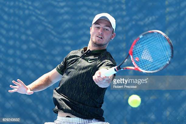 Omar Jasika of Australia plays a forehand during the Australian Open December Showdown at Melbourne Park on December 12 2016 in Melbourne Australia