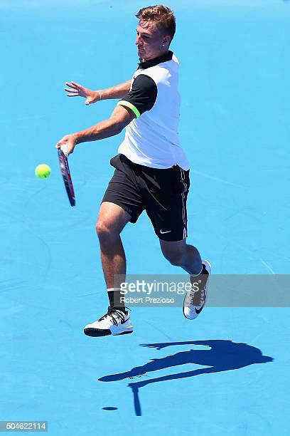 Omar Jasika of Australia plays a forehand in his match against Hyeon Chung of Korea during day one of the 2016 Kooyong Classic at Kooyong on January...