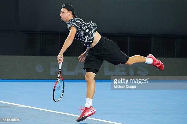 Omar Jasika of Australia serves in his match against Rafael Nadal of Spain during Rafa's Summer Set at Melbourne Park on January 14 2015 in Melbourne...