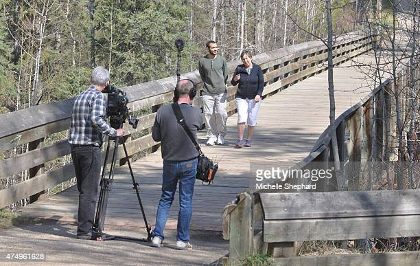 Omar Khadr is filmed for a documentary on his life as he walks with Patricia Edney on May 9 2015 Two days earlier the 28 year old was released from...