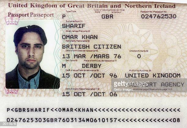Omar Khan Sharif's British passport is seen in this handout photo by Israel's police and Shin Bet secret service April 30 in Tel Aviv The 27yearold...