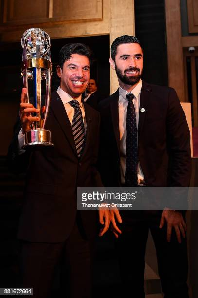 Omar Khrbin from Syria poses with his 2017 AFC Player of the Year award during the 2017 AFC Annual Awards on November 29 2017 in Bangkok Thailand