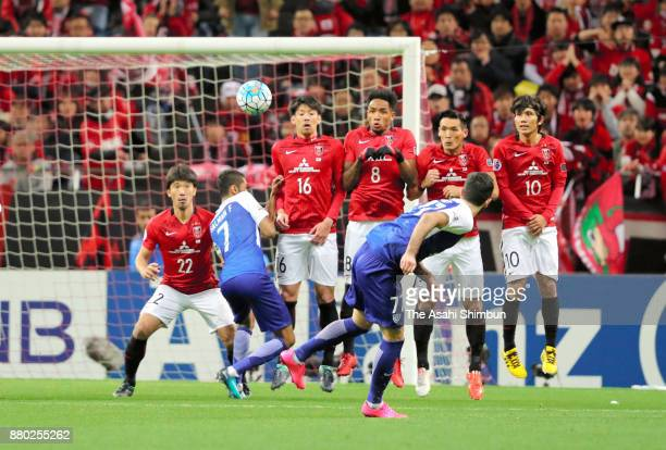 Omar Khribin of AlHilal takes a free kick during the AFC Champions League Final second leg match between Urawa Red Diamonds and AlHilal at Saitama...