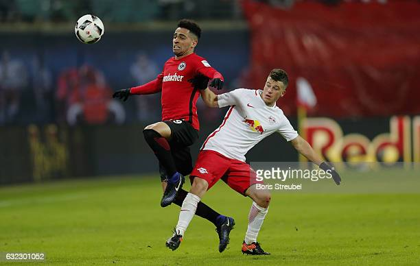Omar Mascarell of Eintracht Frankfurt is challenged by Diego Demme of RB Leipzig during the Bundesliga match between RB Leipzig and Eintracht...
