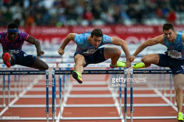 Omar Mc Leod of Jamaica Sergey Shubenkov of Russia and Andrew Pozzi of Great Britain compete during the men's 110 meters hurdles within the...