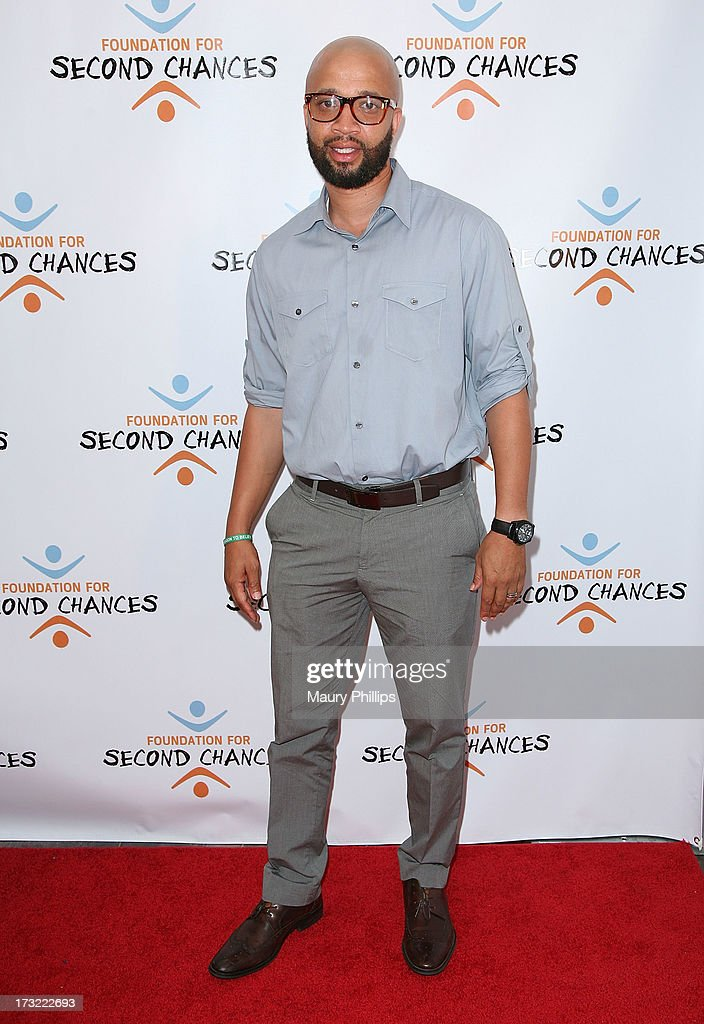 Omar McGee arrives at Foundation For Second Chances 'Harlem Nights' Casino event at Huntley Hotel on July 9, 2013 in Santa Monica, California.