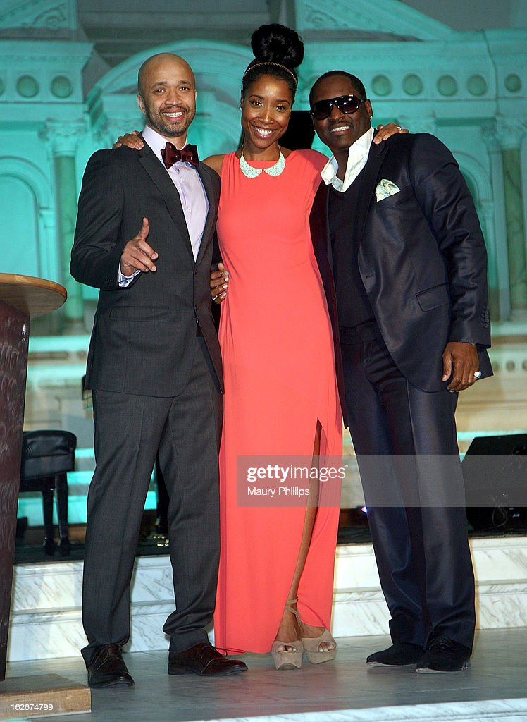 Omar McGee, Kita Williams and <a gi-track='captionPersonalityLinkClicked' href=/galleries/search?phrase=Johnny+Gill&family=editorial&specificpeople=233428 ng-click='$event.stopPropagation()'>Johnny Gill</a> onstage during the Executive Preparatory Academy of Finance's 'Reason To Believe' Inaugural charity fundraising gala at Vibiana on February 20, 2013 in Los Angeles, California.