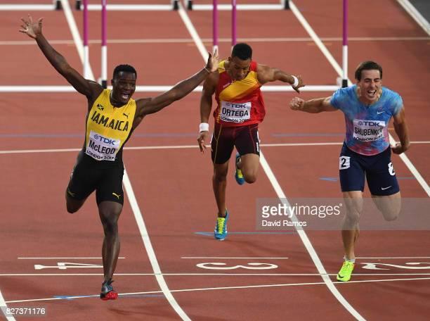Omar McLeod of Jamaica celebrates after winning the Men's 110 metres hurdles final ahead of Authorised Neutral Athlete Sergey Shubenkov during day...