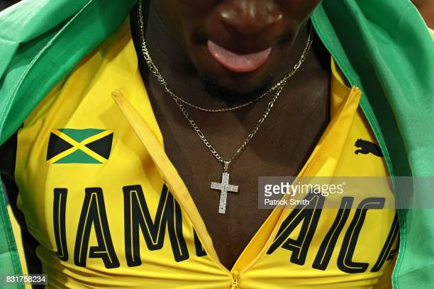 Omar McLeod of Jamaica celebrates after winning the Men's 110 metres hurdles final during day four of the 16th IAAF World Athletics Championships...