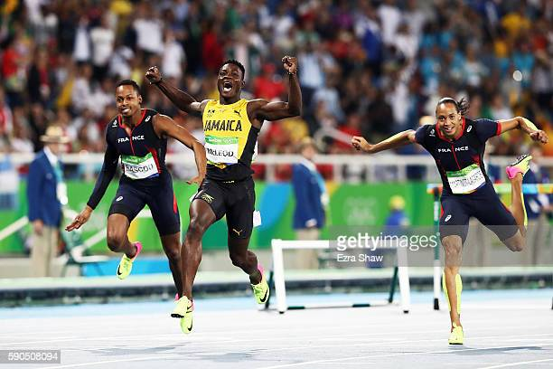 Omar Mcleod of Jamaica celebrates winning the gold medal in the Men's 110m Hurdles Final on Day 11 of the Rio 2016 Olympic Games at the Olympic...