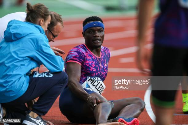 Omar McLeod of Jamaica injures itself during the men's 110 meters hurdles within the International Association of Athletics Federations Diamond...