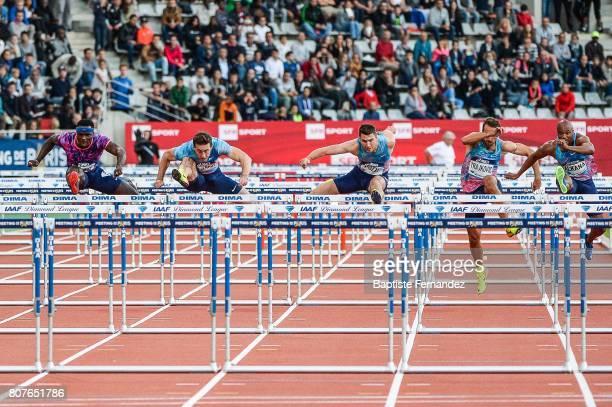 Omar McLeod Sergey Shubenkov Andrew Pozzi Milan Trajkovic and Antonio Alkana during the Meeting de Paris of the IAAF Diamond League 2017 at Stade...