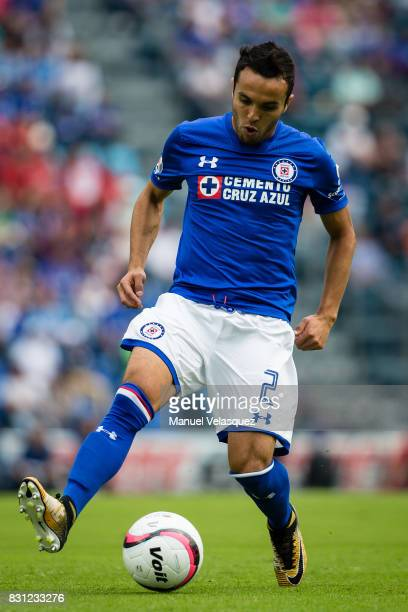 Omar Mendoza of Cruz Azul during the 4th round match between Cruz Azul and Chivas as part of the Torneo Apertura 2017 Liga MX at Azul Stadium on...