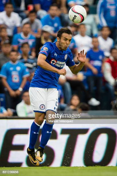 Omar Mendoza of Cruz Azul heads the ball during the 4th round match between Cruz Azul and Chivas as part of the Torneo Apertura 2017 Liga MX at Azul...