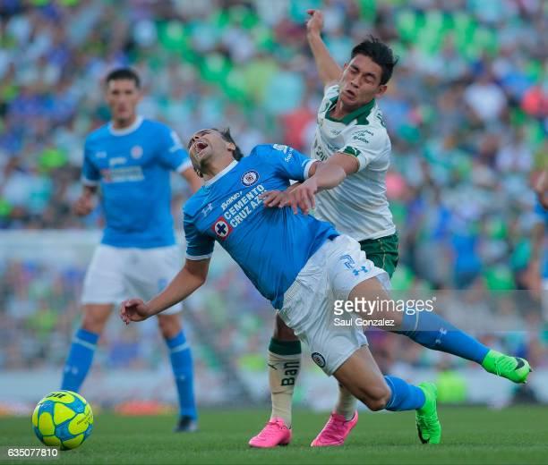 Omar Mendoza of Cruz Azul reacts during the 6th round match between Santos Laguna and Cruz Azul as part of the Torneo Clausura 2017 Liga MX at Corona...