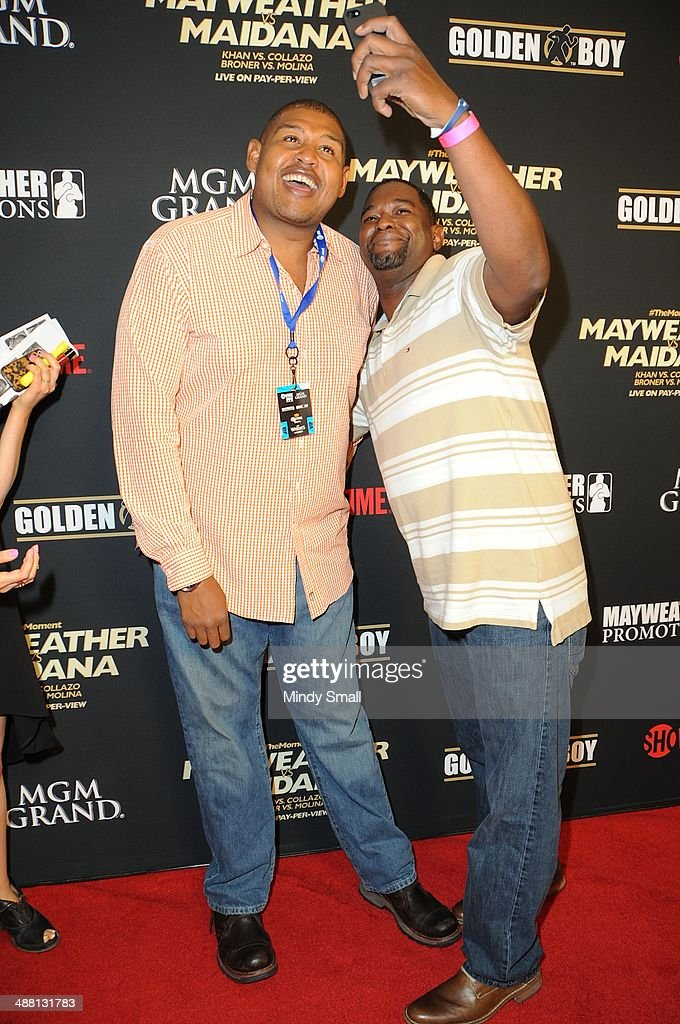 Omar Miller and guest attend the Mayweather Vs. Maidana Pre-Fight Party Presented By Showtime at MGM Garden Arena on May 3, 2014 in Las Vegas, Nevada.