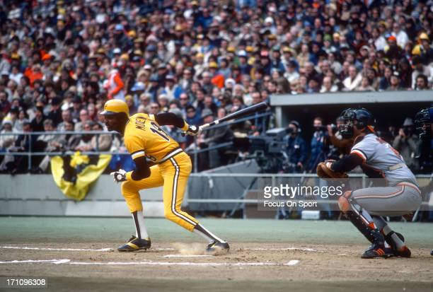 Omar Moreno of the Pittsburgh Pirates bats against the Baltimore Orioles during the 1979 World Series at Three Rivers Stadium in Pittsburgh...