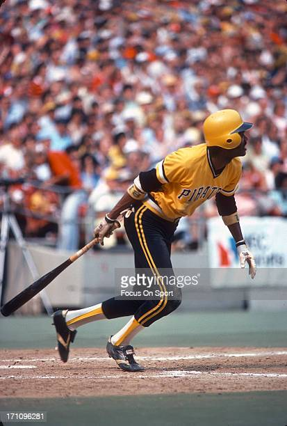 Omar Moreno of the Pittsburgh Pirates bats during an Major League Baseball game circa 1979 at Three Rivers Stadium in Pittsburgh Pennsylvania Moreno...